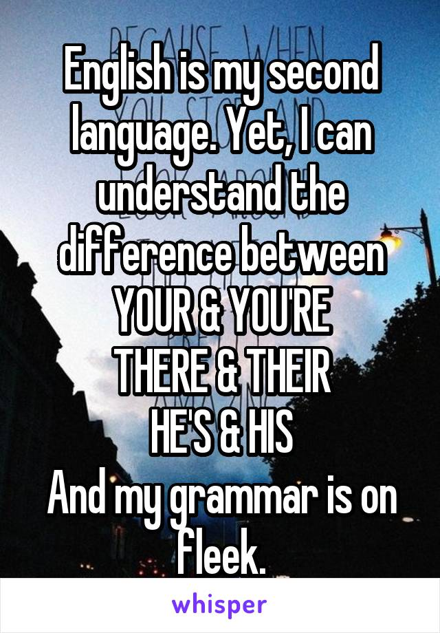 English is my second language. Yet, I can understand the difference between YOUR & YOU'RE THERE & THEIR HE'S & HIS And my grammar is on fleek.
