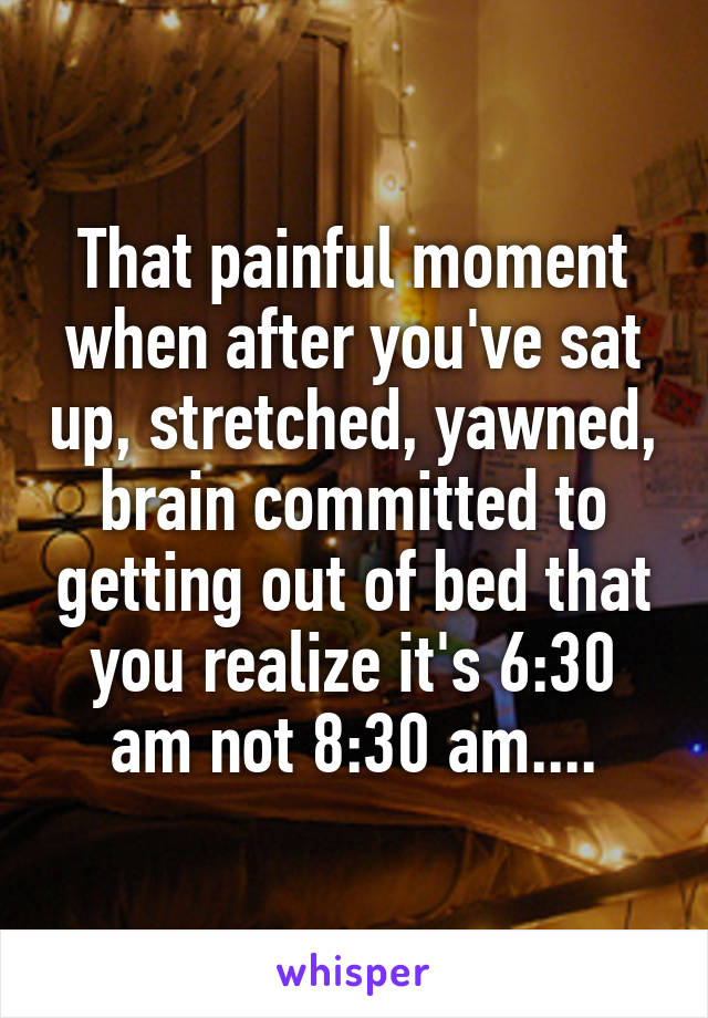 That painful moment when after you've sat up, stretched, yawned, brain committed to getting out of bed that you realize it's 6:30 am not 8:30 am....