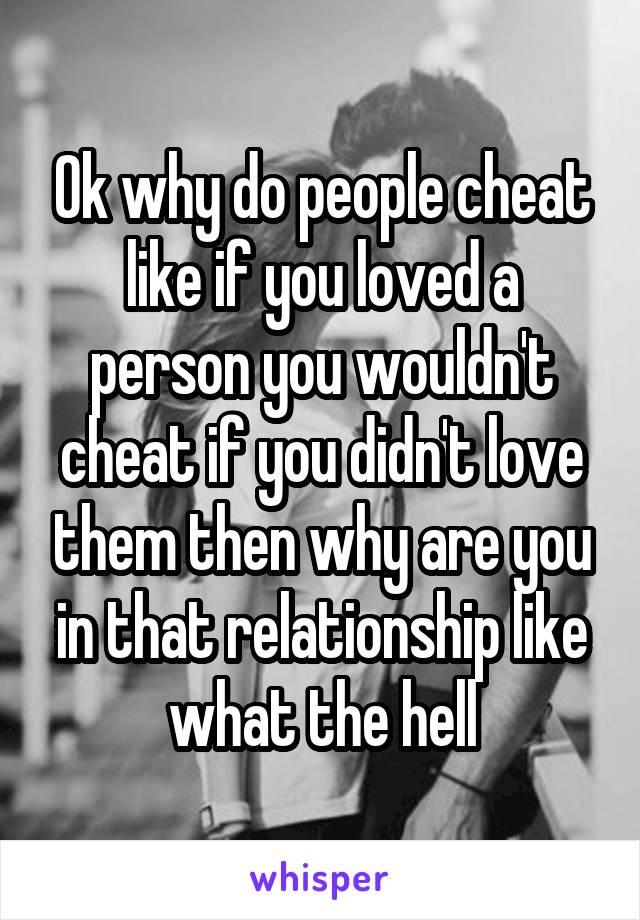 Ok why do people cheat like if you loved a person you wouldn't cheat if you didn't love them then why are you in that relationship like what the hell