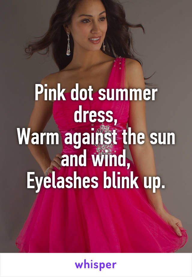 Pink dot summer dress, Warm against the sun and wind, Eyelashes blink up.