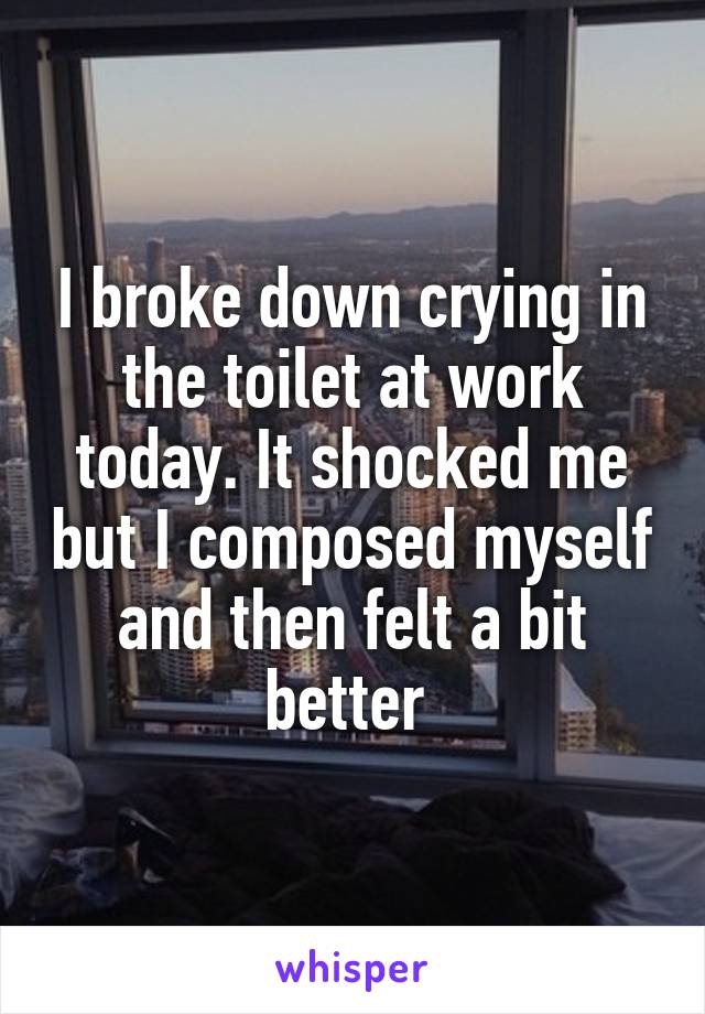I broke down crying in the toilet at work today. It shocked me but I composed myself and then felt a bit better