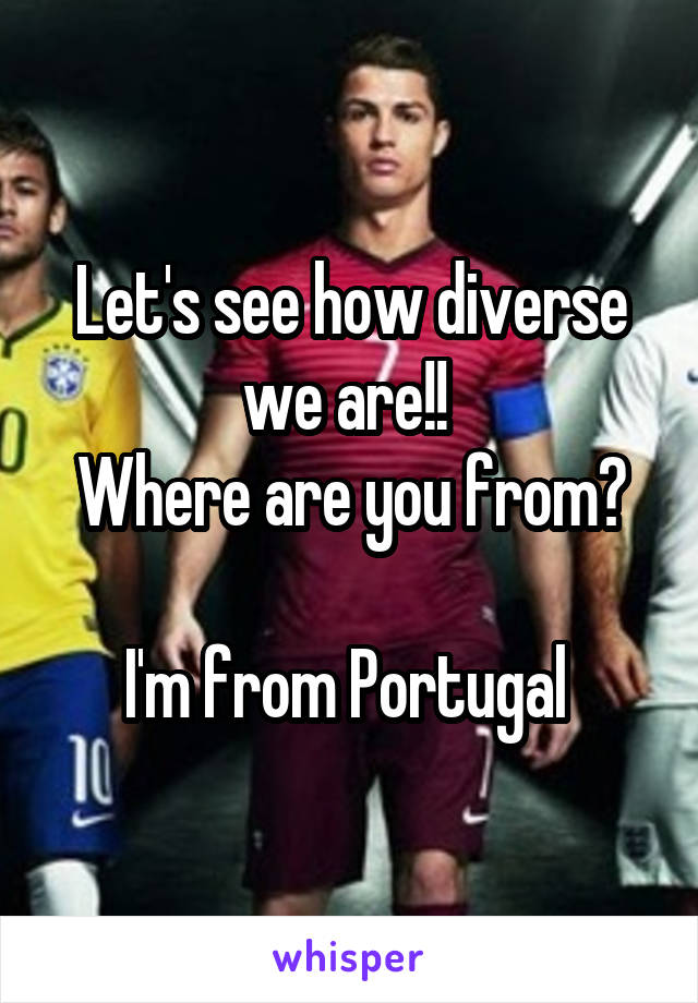 Let's see how diverse we are!!  Where are you from?  I'm from Portugal