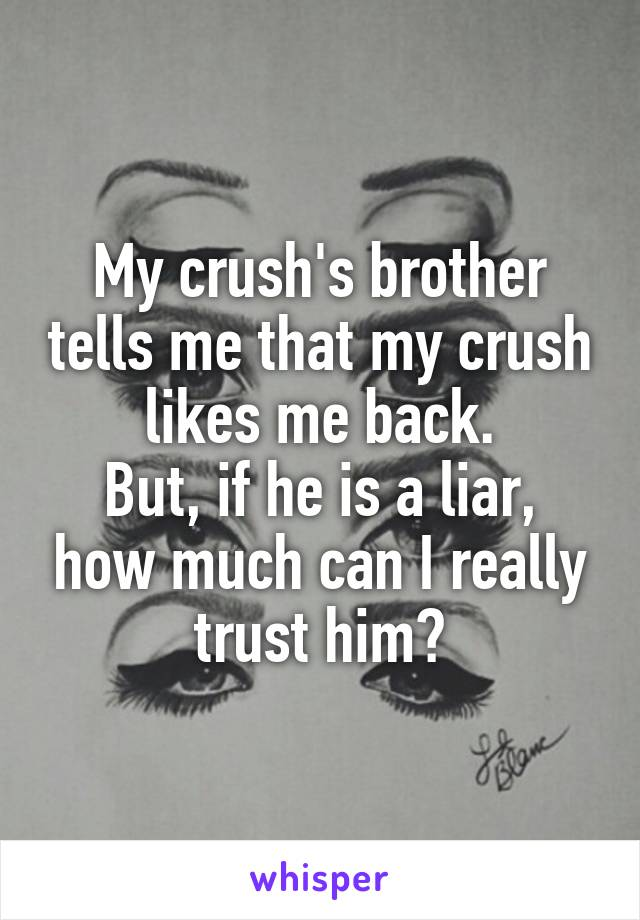 My crush's brother tells me that my crush likes me back. But, if he is a liar, how much can I really trust him?
