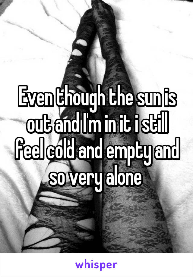 Even though the sun is out and I'm in it i still feel cold and empty and so very alone