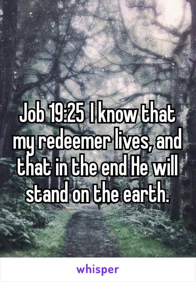 Job 19:25I know that my redeemer lives, and that in the end He will stand on the earth.
