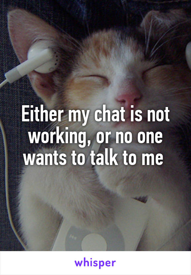 Either my chat is not working, or no one wants to talk to me