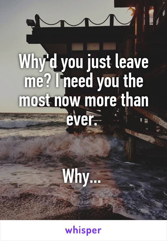 Why'd you just leave me? I need you the most now more than ever.    Why...