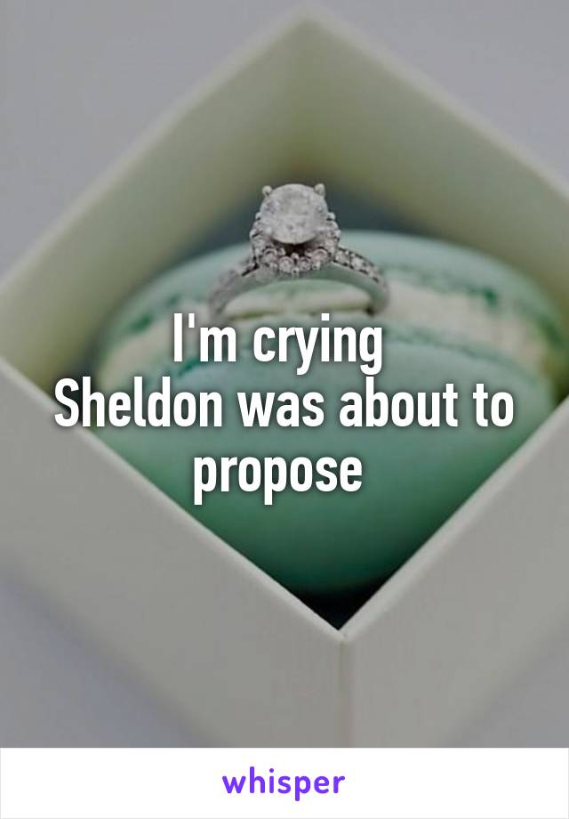 I'm crying  Sheldon was about to propose