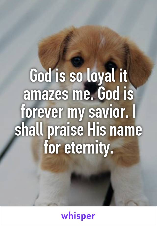 God is so loyal it amazes me. God is forever my savior. I shall praise His name for eternity.
