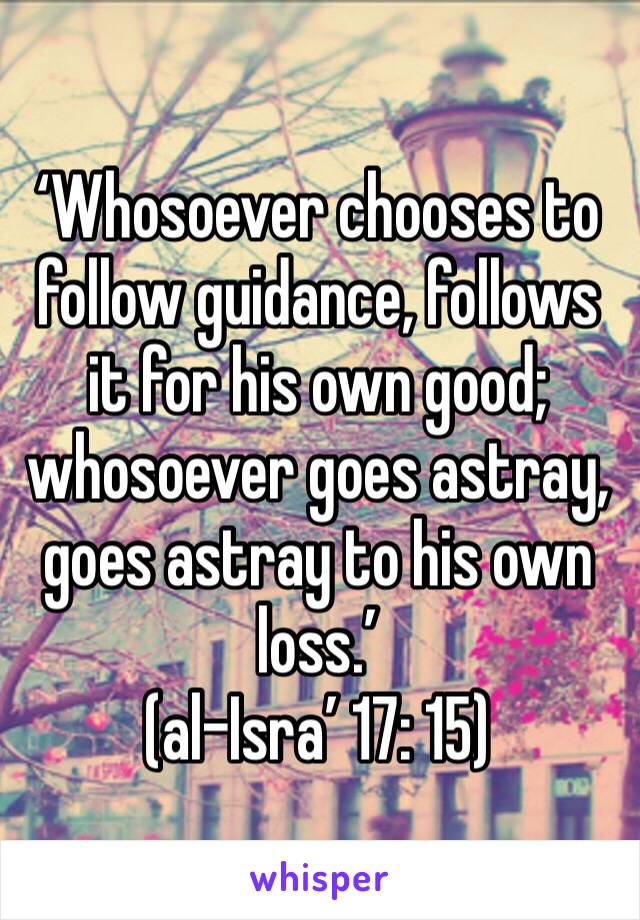 'Whosoever chooses to follow guidance, follows it for his own good; whosoever goes astray, goes astray to his own loss.' (al-Isra' 17: 15)