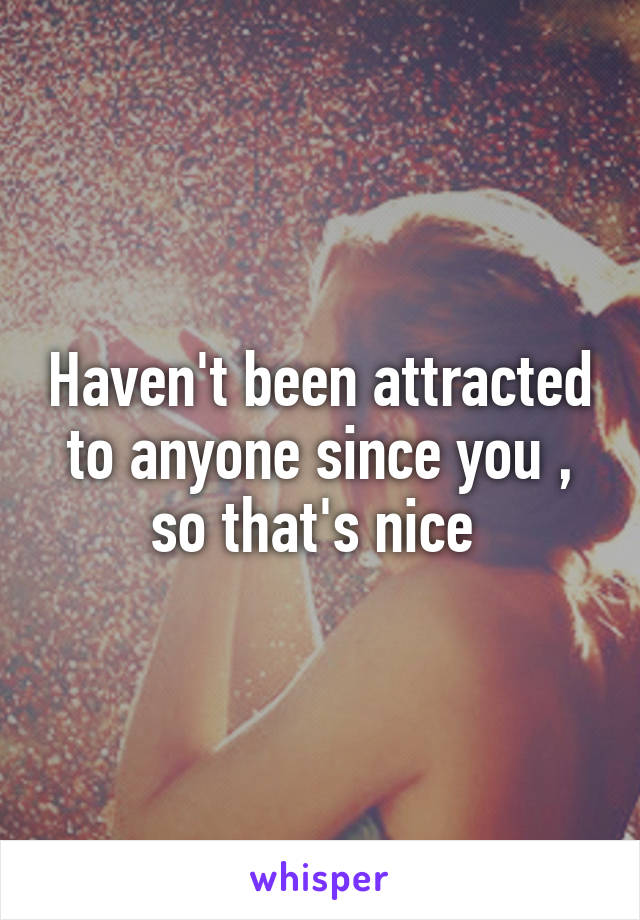 Haven't been attracted to anyone since you , so that's nice