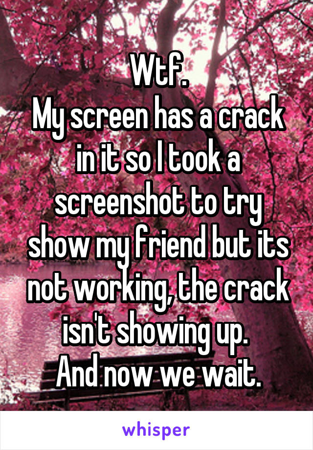 Wtf. My screen has a crack in it so I took a screenshot to try show my friend but its not working, the crack isn't showing up.  And now we wait.