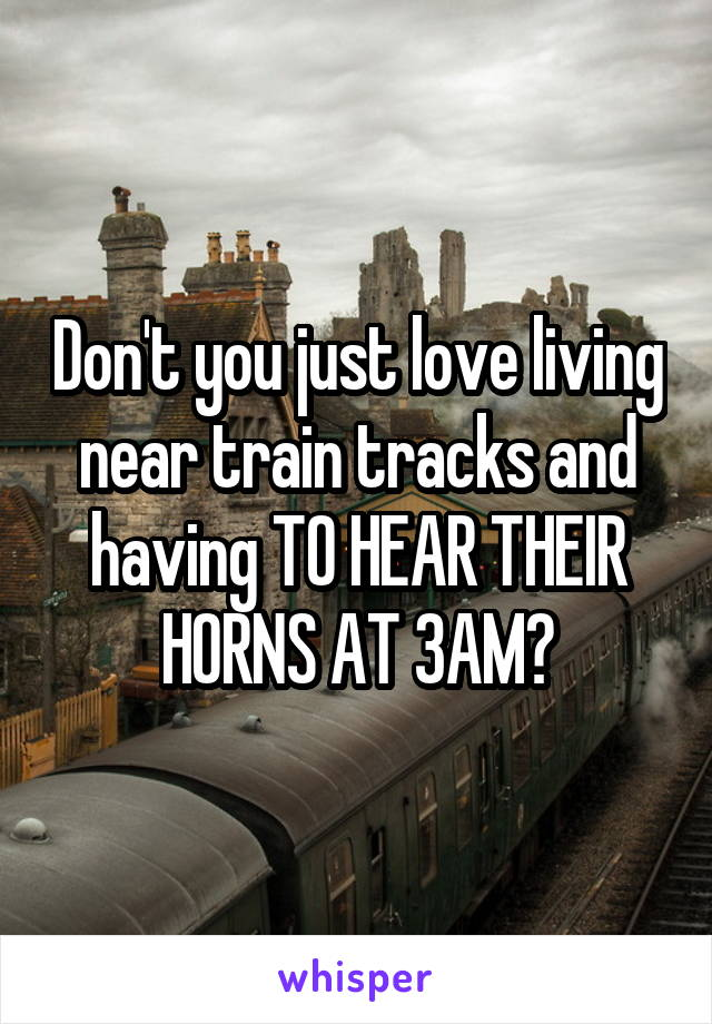 Don't you just love living near train tracks and having TO HEAR THEIR HORNS AT 3AM?