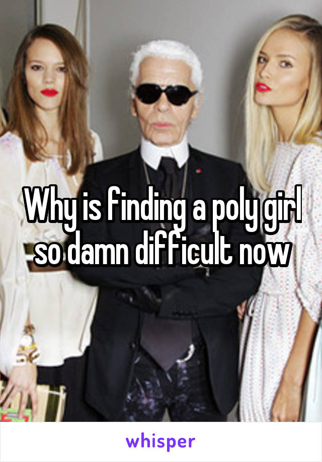 Why is finding a poly girl so damn difficult now