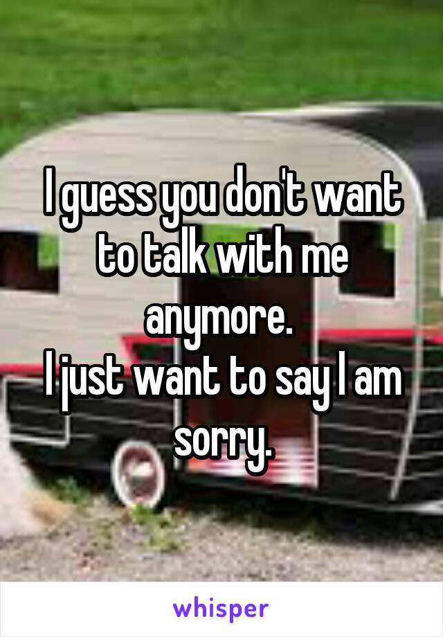 I guess you don't want to talk with me anymore.  I just want to say I am sorry.