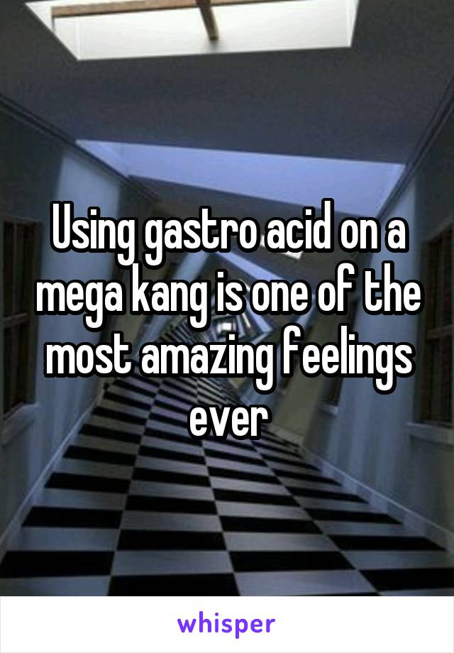 Using gastro acid on a mega kang is one of the most amazing feelings ever