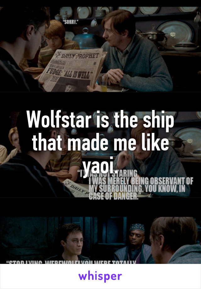 Wolfstar is the ship that made me like yaoi.