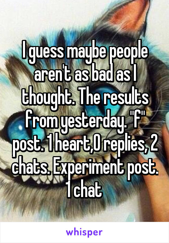 "I guess maybe people aren't as bad as I thought. The results from yesterday. ""f"" post. 1 heart,0 replies, 2 chats. Experiment post. 1 chat"