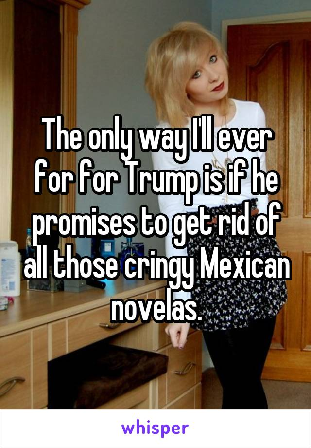 The only way I'll ever for for Trump is if he promises to get rid of all those cringy Mexican novelas.