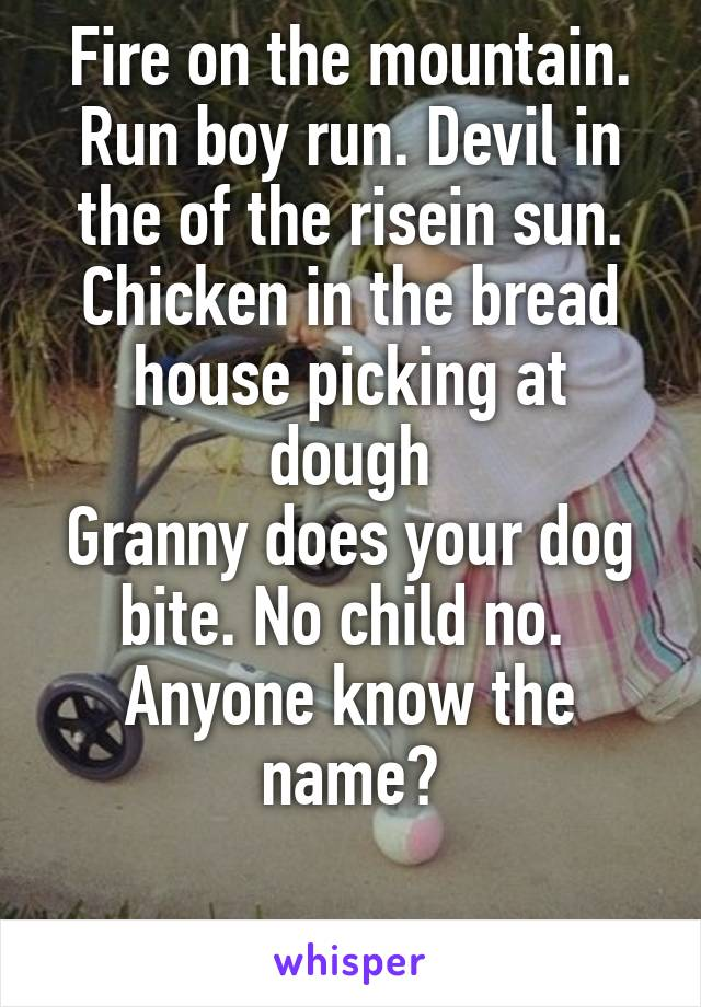 Fire on the mountain. Run boy run. Devil in the of the risein sun. Chicken in the bread house picking at dough Granny does your dog bite. No child no.  Anyone know the name?