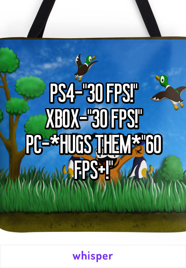 "PS4-""30 FPS!"" XBOX-""30 FPS!"" PC-*HUGS THEM*""60 FPS+!"""