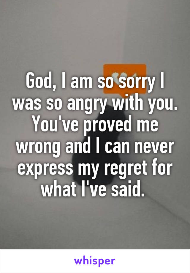 God, I am so sorry I was so angry with you. You've proved me wrong and I can never express my regret for what I've said.
