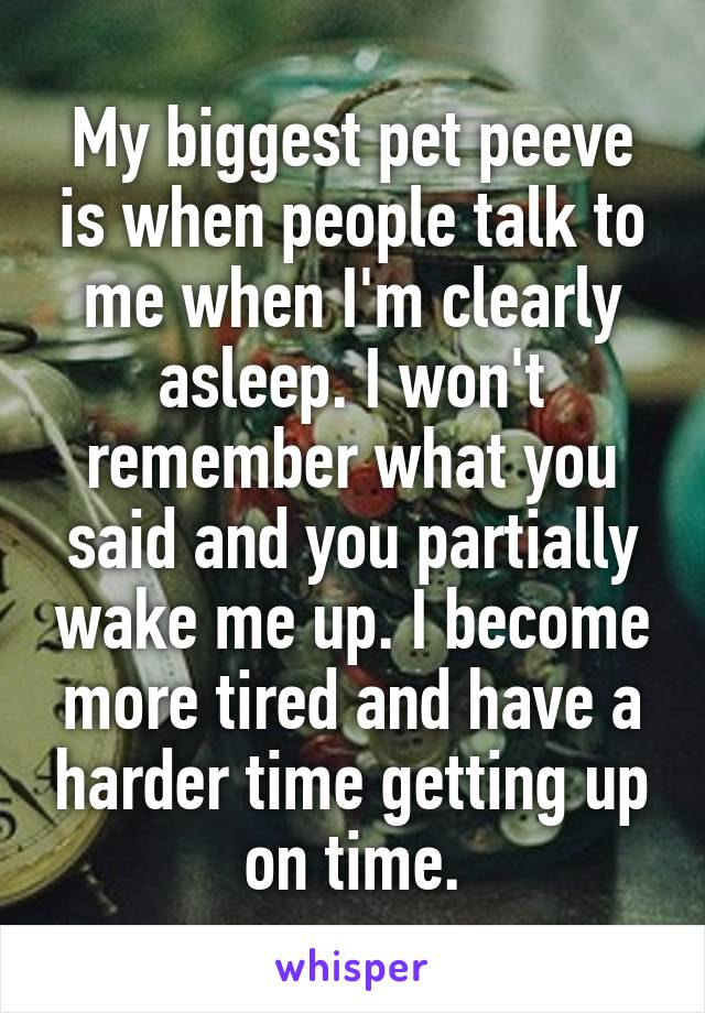 My biggest pet peeve is when people talk to me when I'm clearly asleep. I won't remember what you said and you partially wake me up. I become more tired and have a harder time getting up on time.
