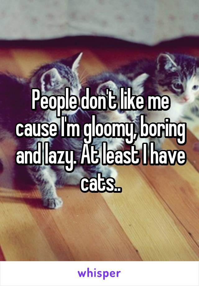 People don't like me cause I'm gloomy, boring and lazy. At least I have cats..