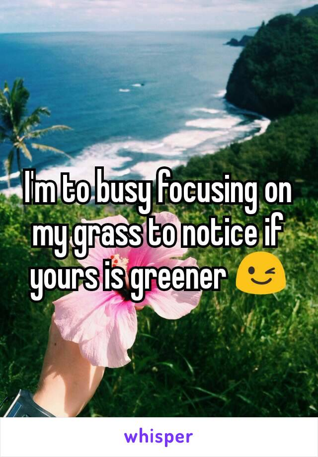I'm to busy focusing on my grass to notice if yours is greener 😉