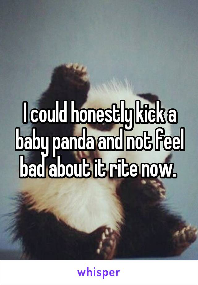 I could honestly kick a baby panda and not feel bad about it rite now.