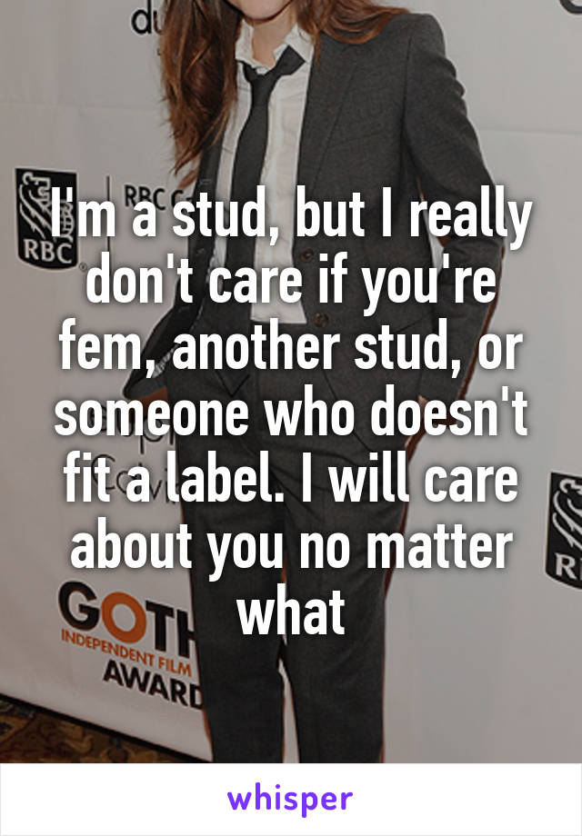 I'm a stud, but I really don't care if you're fem, another stud, or someone who doesn't fit a label. I will care about you no matter what