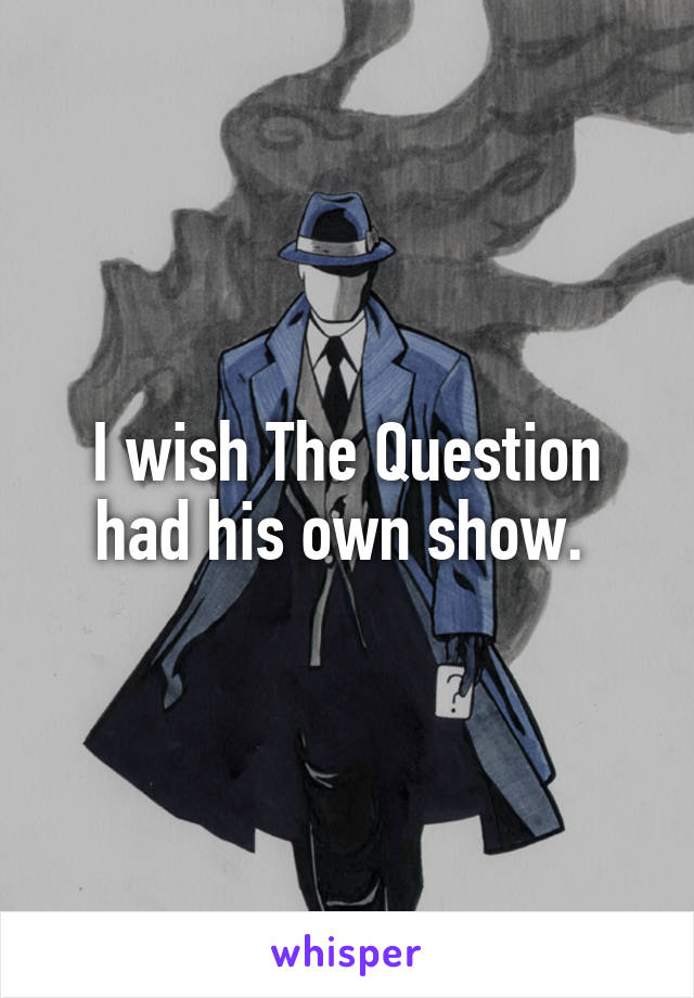 I wish The Question had his own show.