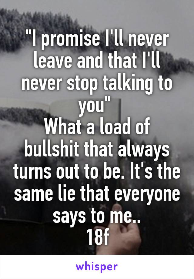 """""""I promise I'll never leave and that I'll never stop talking to you""""  What a load of bullshit that always turns out to be. It's the same lie that everyone says to me.. 18f"""