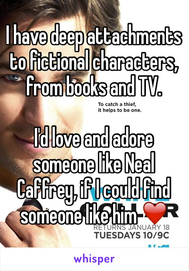 I have deep attachments to fictional characters, from books and TV.   I'd love and adore someone like Neal Caffrey, if I could find someone like him ❤️