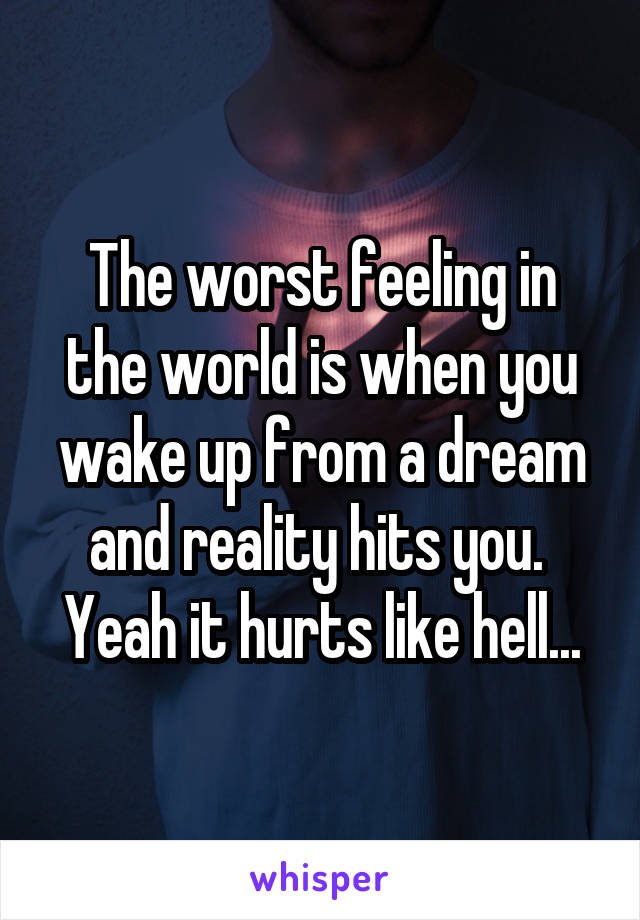 The worst feeling in the world is when you wake up from a dream and reality hits you.  Yeah it hurts like hell...