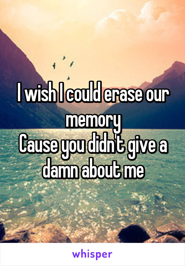 I wish I could erase our memory Cause you didn't give a damn about me