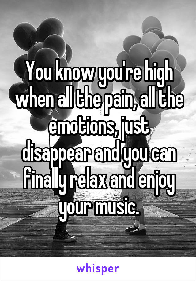 You know you're high when all the pain, all the emotions, just disappear and you can finally relax and enjoy your music.