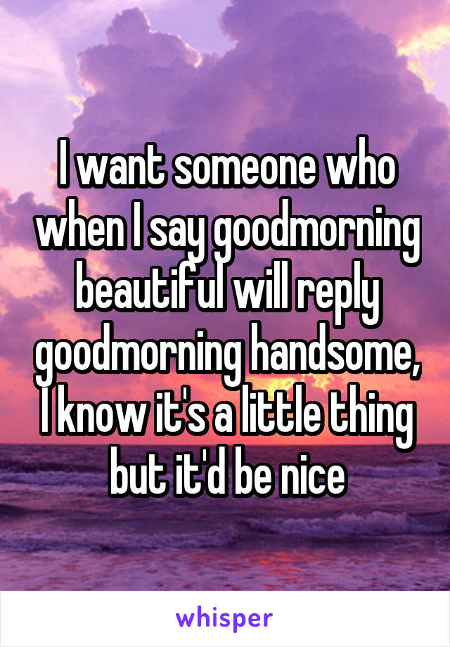 I want someone who when I say goodmorning beautiful will reply goodmorning handsome, I know it's a little thing but it'd be nice