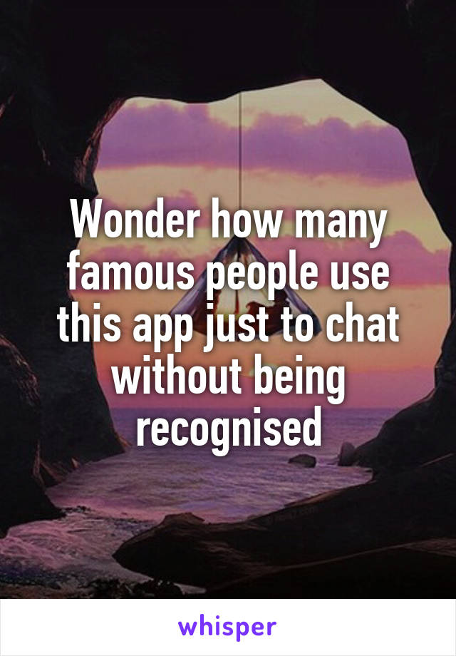 Wonder how many famous people use this app just to chat without being recognised