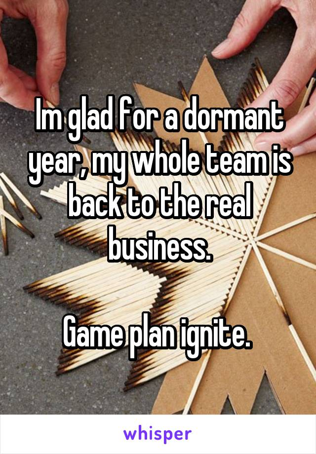 Im glad for a dormant year, my whole team is back to the real business.  Game plan ignite.