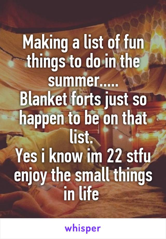 Making a list of fun things to do in the summer..... Blanket forts just so happen to be on that list.  Yes i know im 22 stfu enjoy the small things in life