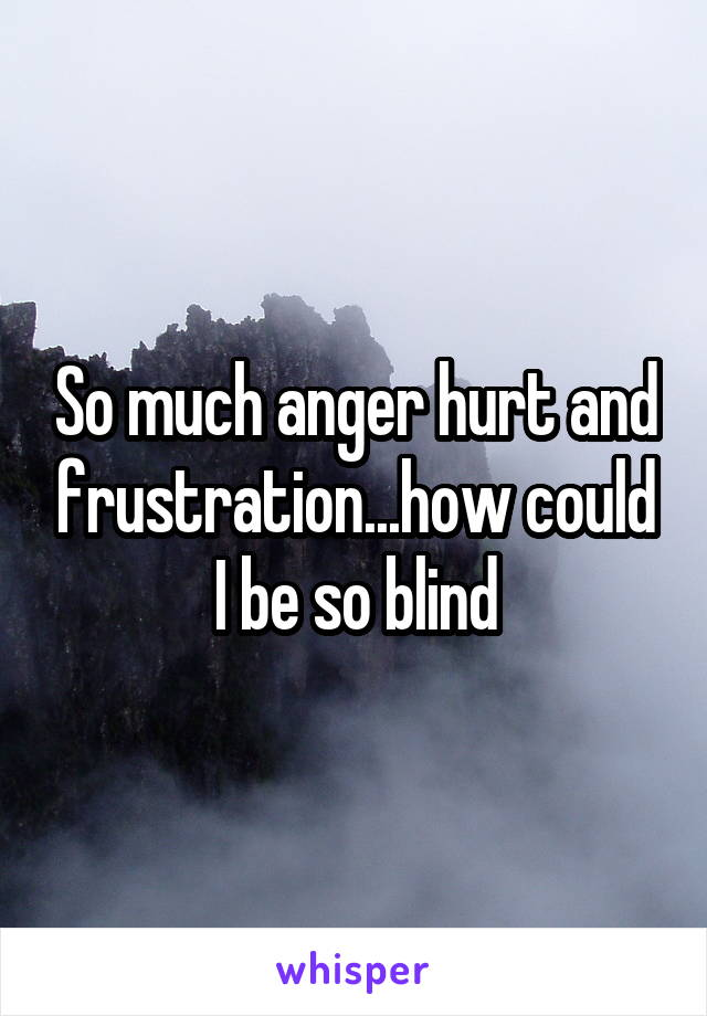 So much anger hurt and frustration...how could I be so blind