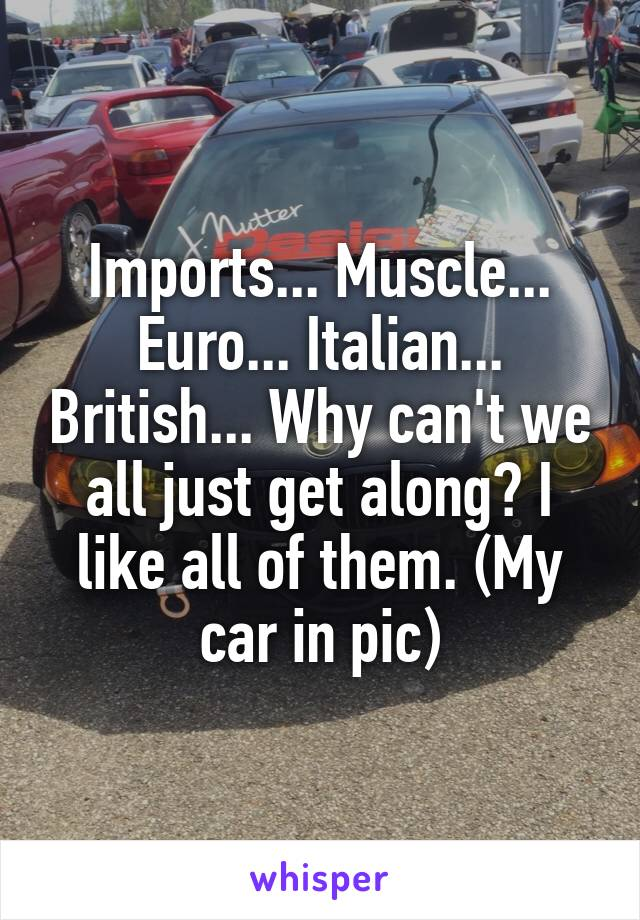 Imports... Muscle... Euro... Italian... British... Why can't we all just get along? I like all of them. (My car in pic)