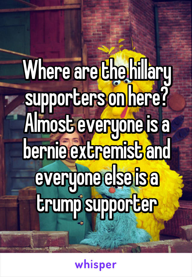 Where are the hillary supporters on here? Almost everyone is a bernie extremist and everyone else is a trump supporter