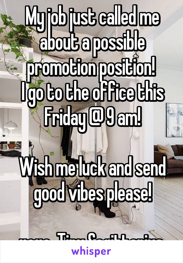 My job just called me about a possible promotion position!  I go to the office this Friday @ 9 am!  Wish me luck and send good vibes please!  xoxo, Tiny Sagittarius