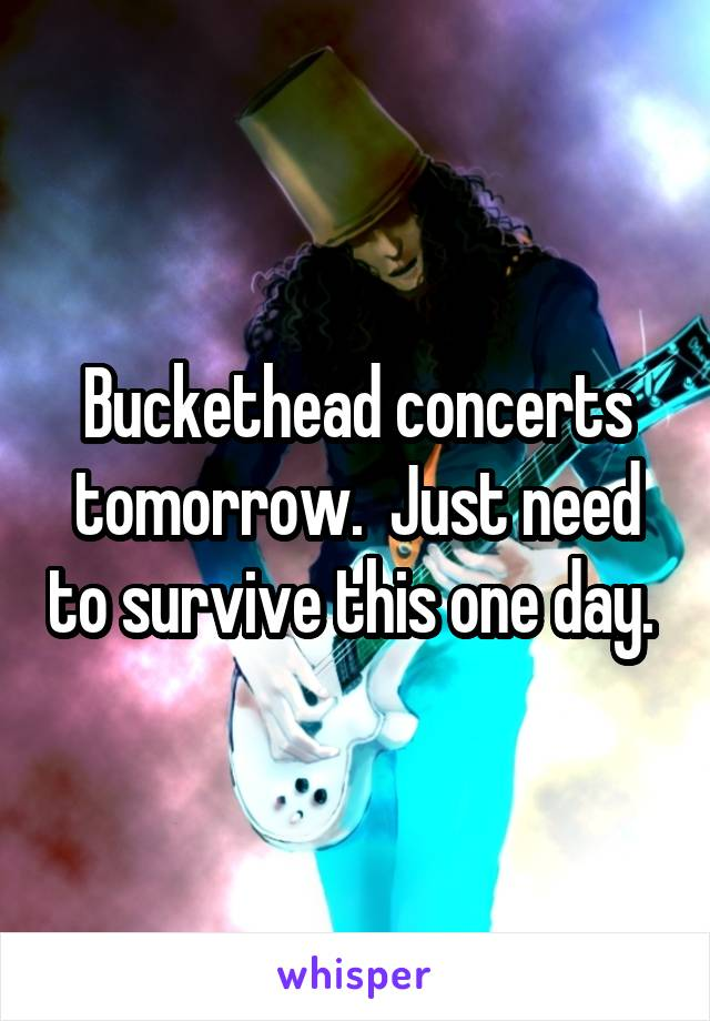 Buckethead concerts tomorrow.  Just need to survive this one day.
