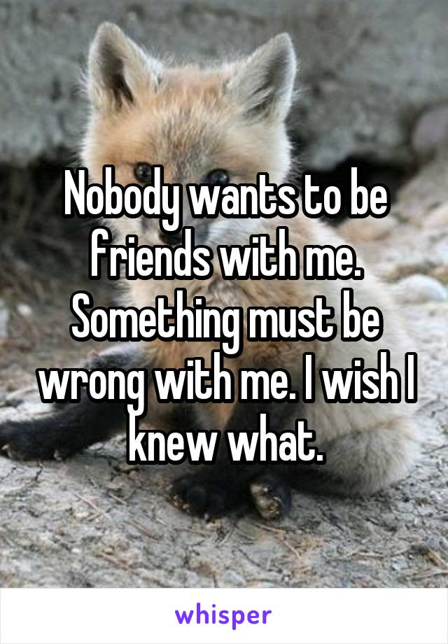 Nobody wants to be friends with me. Something must be wrong with me. I wish I knew what.