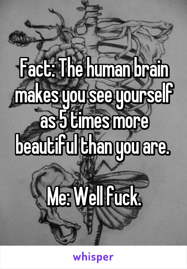 Fact: The human brain makes you see yourself as 5 times more beautiful than you are.   Me: Well fuck.