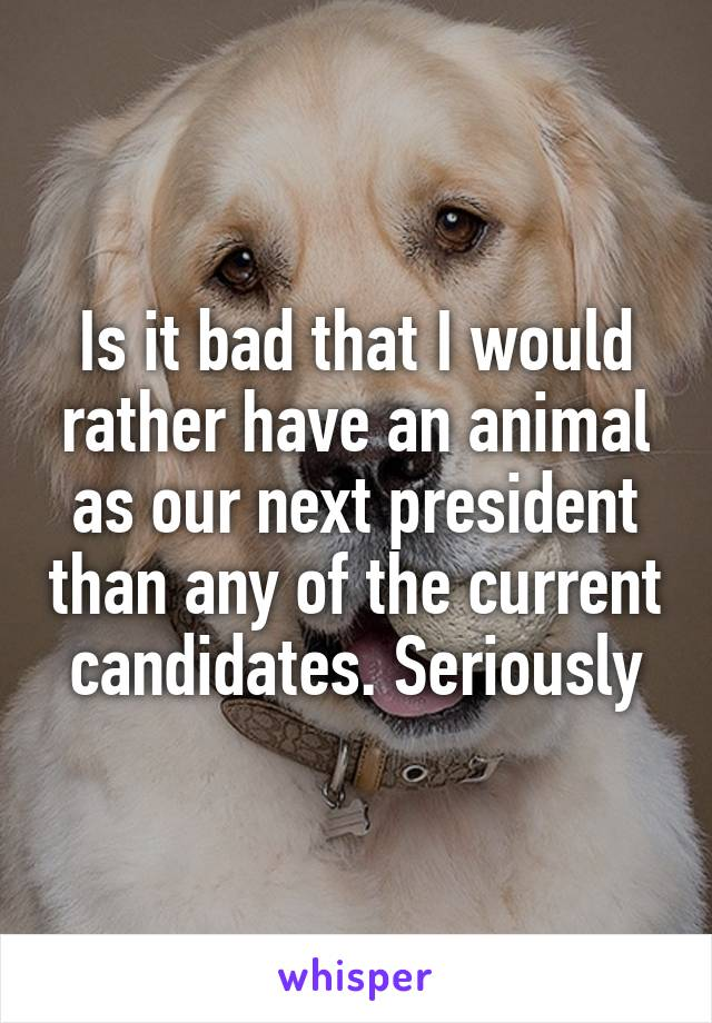 Is it bad that I would rather have an animal as our next president than any of the current candidates. Seriously