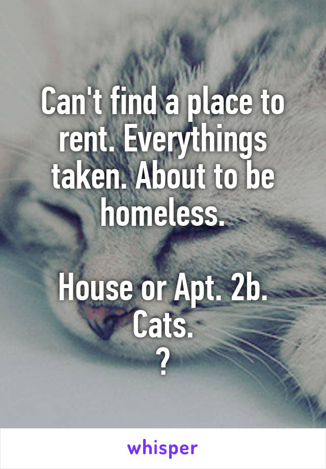 Can't find a place to rent. Everythings taken. About to be homeless.  House or Apt. 2b. Cats. ?